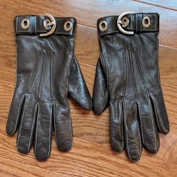 Vintage COACH Brown leather cashmere lined gloves